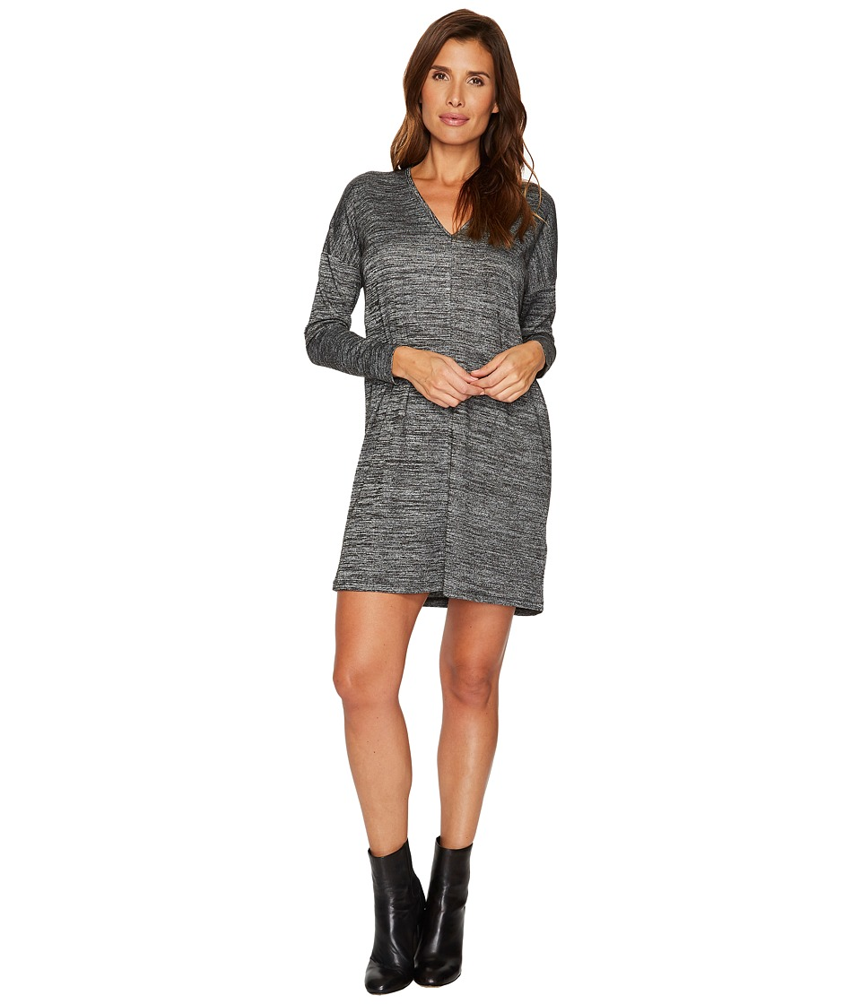 Lilla P Long Sleeve Double V-Neck Dress (Black Space Dye) Women
