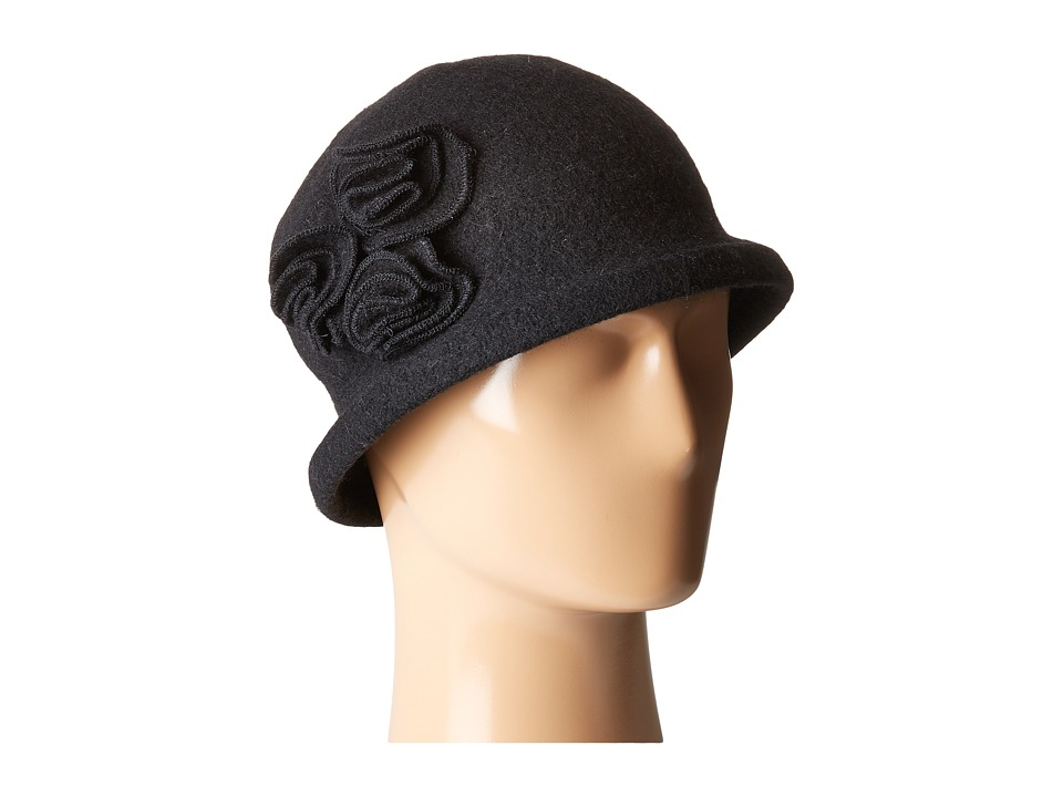 Retro Vintage Style Hats Soft Knit Cloche with Side Flower Black Knit Hats $32.00 AT vintagedancer.com