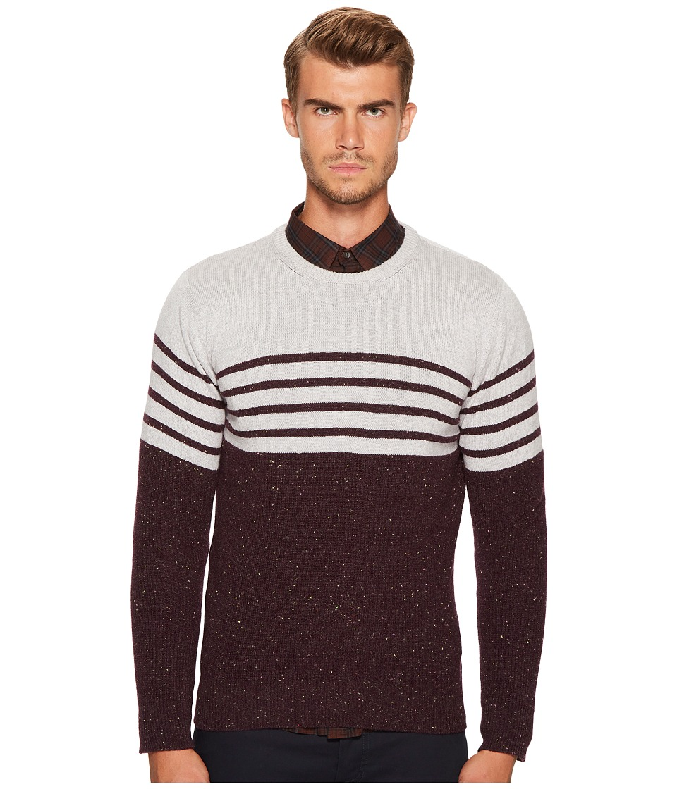 eleventy - Stripe Donegal Cashmere Crew Neck (Grey/Wine) Mens Sweater