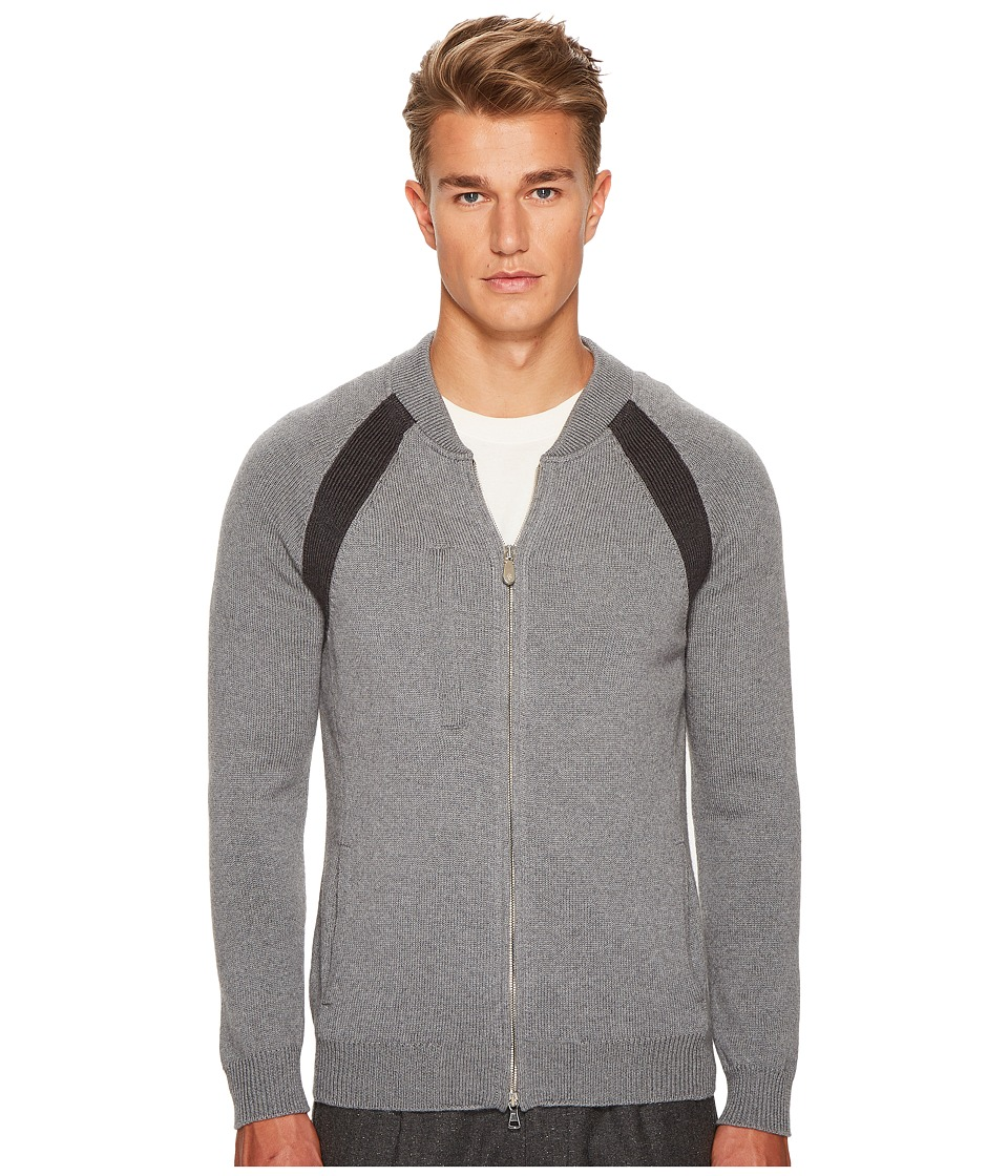 eleventy - Raglan Sleeve Zip College Sweater (Grey/Dark Grey) Mens Sweater
