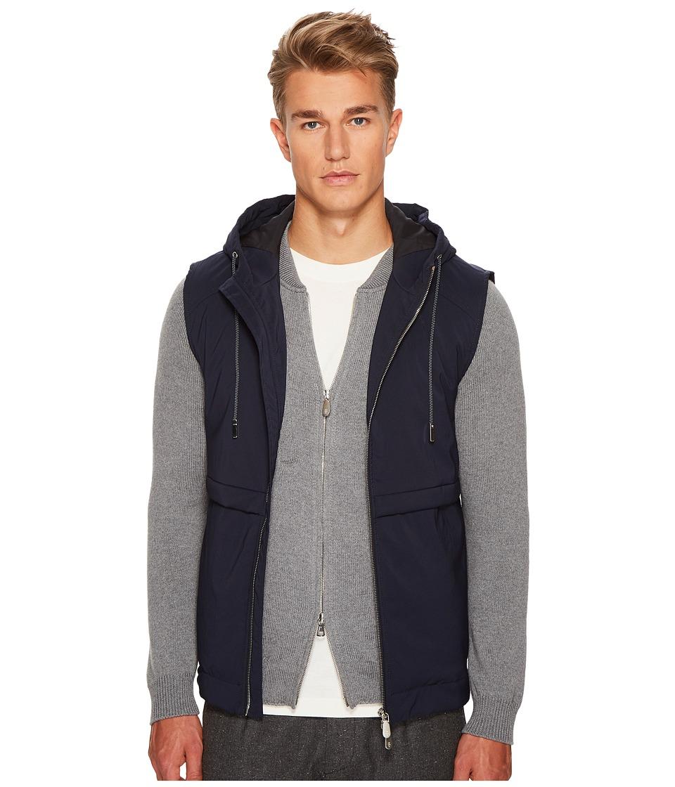 ELEVENTY Wool Flannel Hooded Vest (Navy) Men's Vest