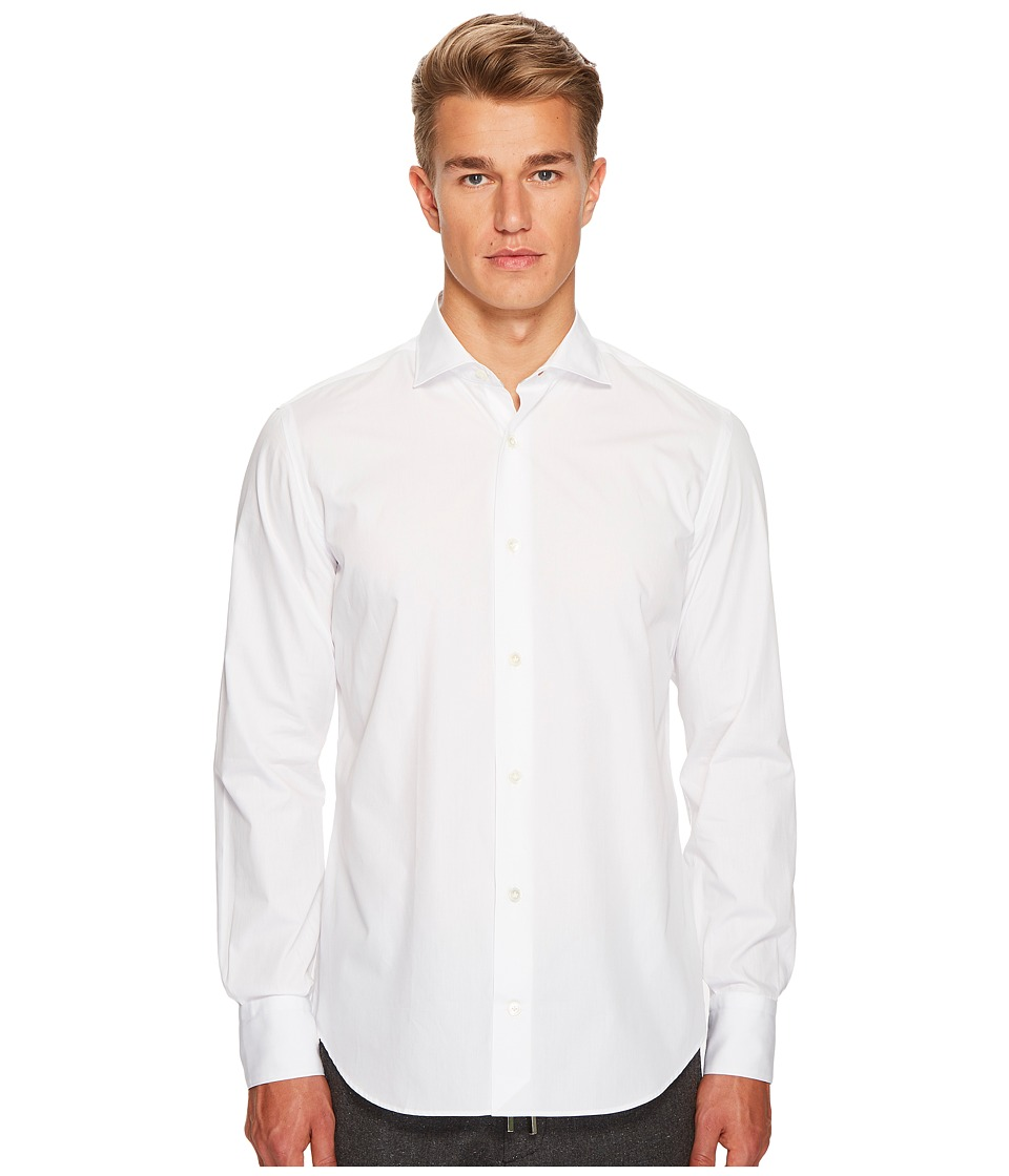 eleventy - Poplin Spread Collar Button Down (White) Mens Clothing