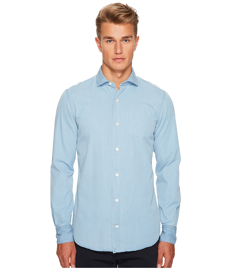 eleventy - Chambray Spread Collar Button Down (Denim) Mens Clothing