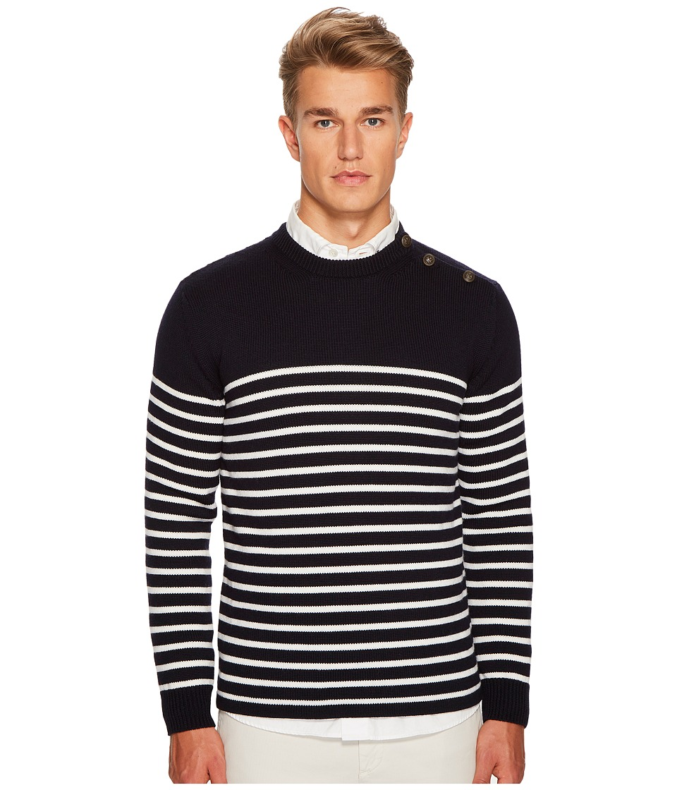 eleventy - Shoulder Button Stripe Crew Neck Sweater