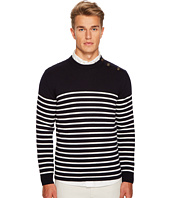 eleventy - Shoulder Button Stripe Crew Neck Sweater