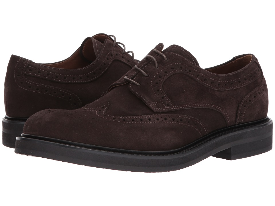 ELEVENTY Suede Wingtip Lace-Up (Chocolate) Men's Lace Up ...