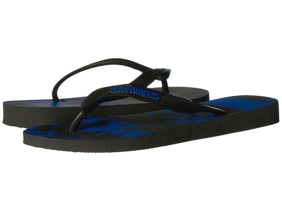 Havaianas Top Stripes Logo Sandal (Black/Blue Star) Men