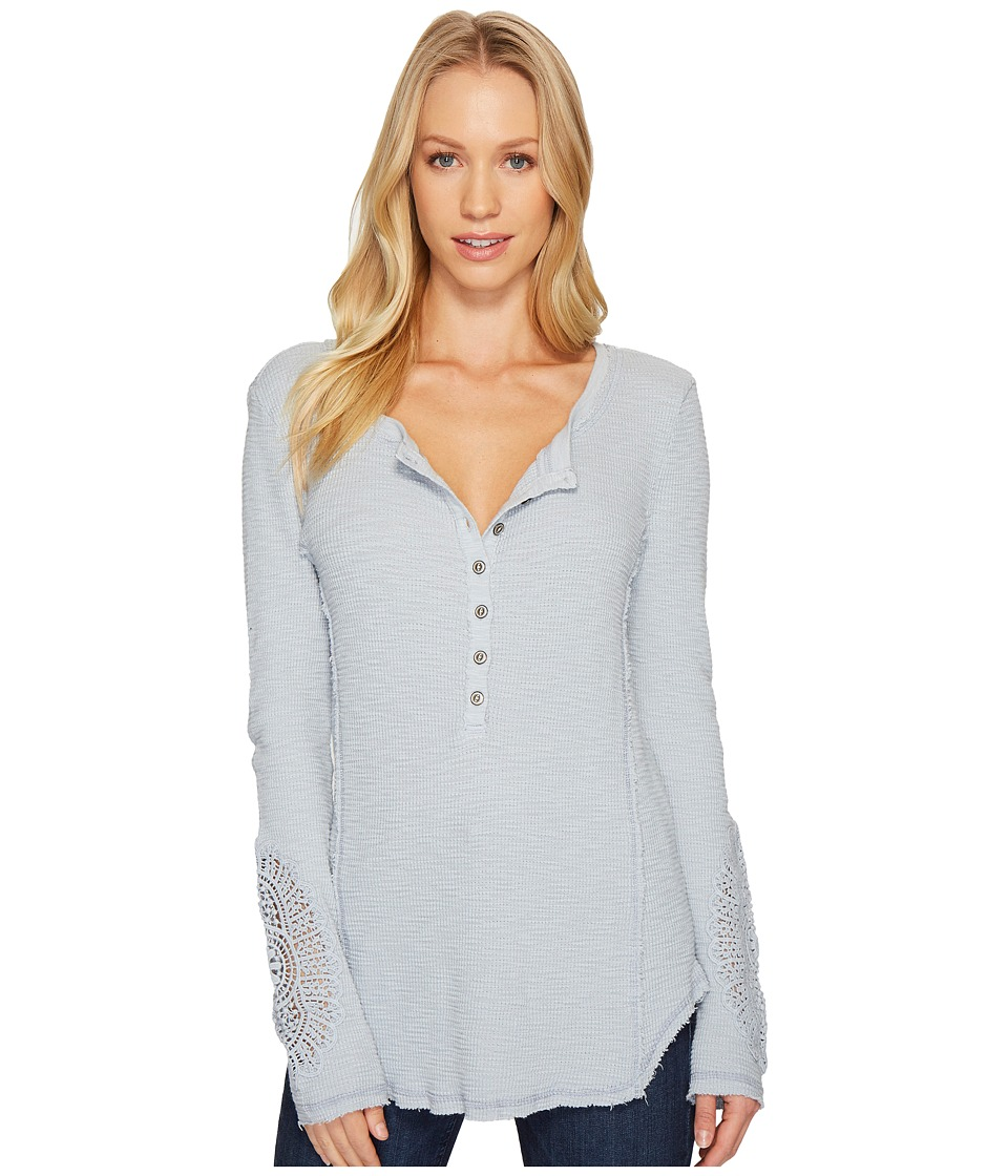 Dylan by True Grit - Softest Slub Waffle Button Top with Crochet Sleeves