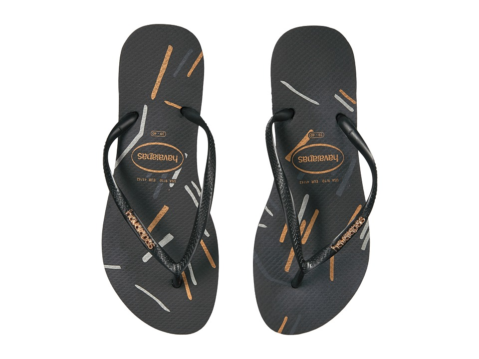 Havaianas - Slim Logo Metallic Fine Lines Flip Flops (Black/Gold) Women's Sandals