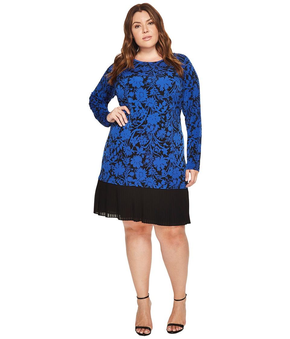 MICHAEL Michael Kors Plus Size Garden Dress w/ Pleat Hem (Royal) Women