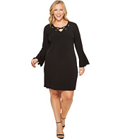 MICHAEL Michael Kors - Plus Size Grommet Lacing Matte Jersey Dress