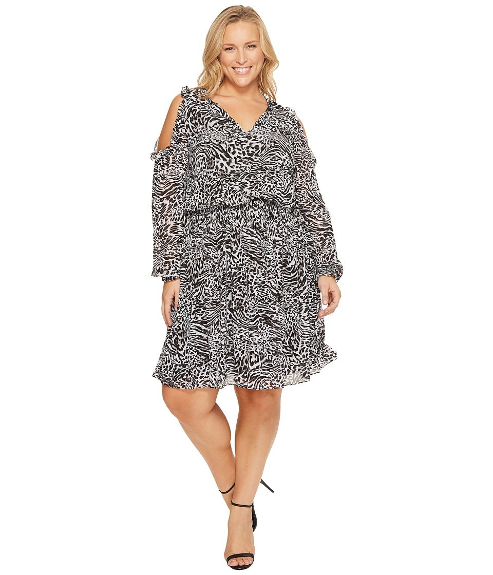 MICHAEL Michael Kors Plus Size Big Cat Cold Shoulder Woven Dress (Black) Women