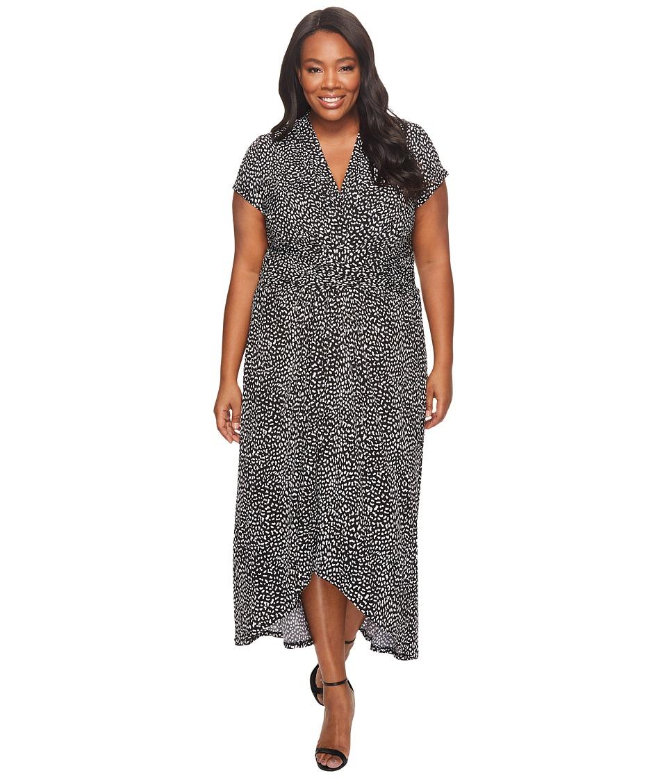 MICHAEL Michael Kors Plus Size Cheetah Wrap Dress (Black) Women