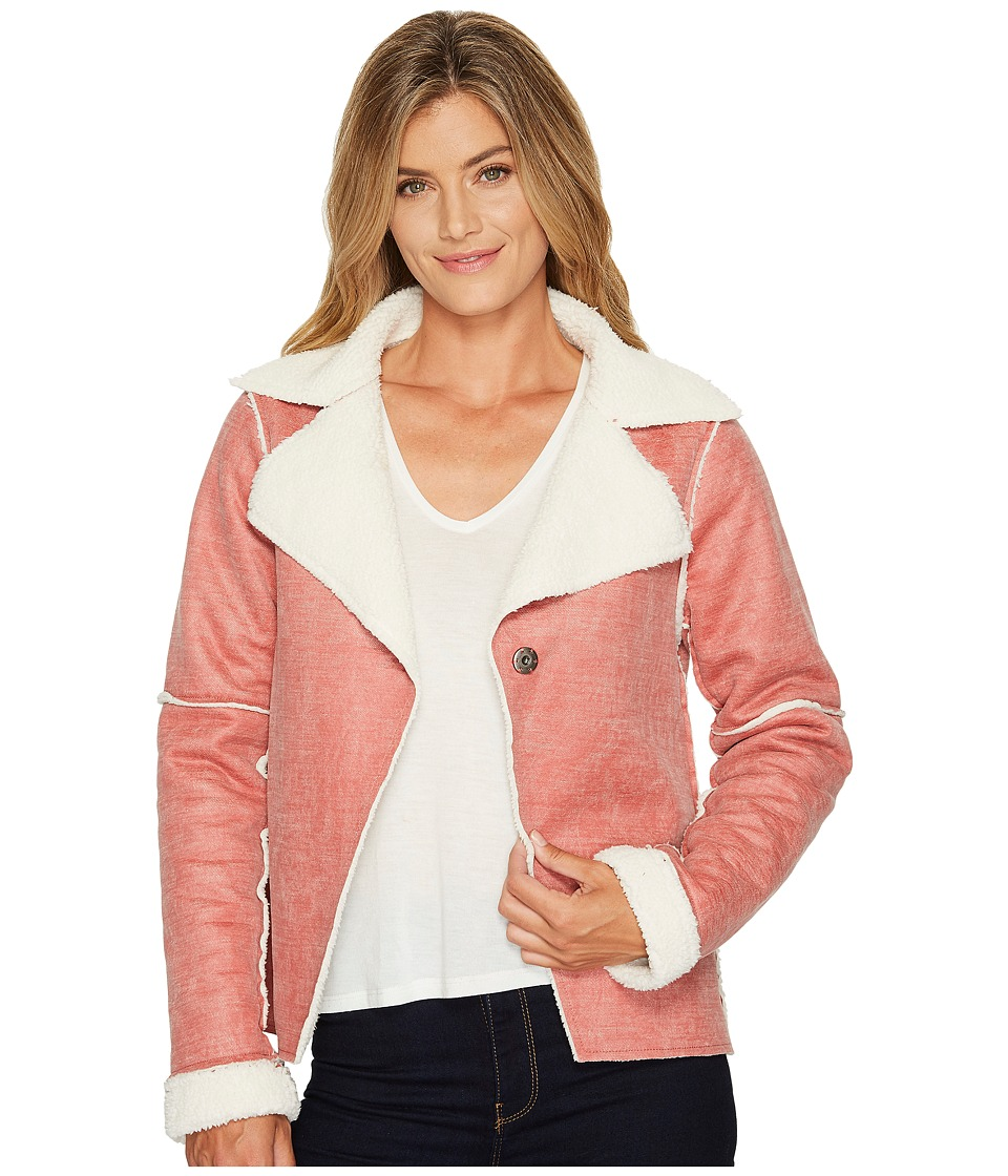 Dylan by True Grit Distressed Bonded Sherpa Snap Jacket (Vintage Red) Women