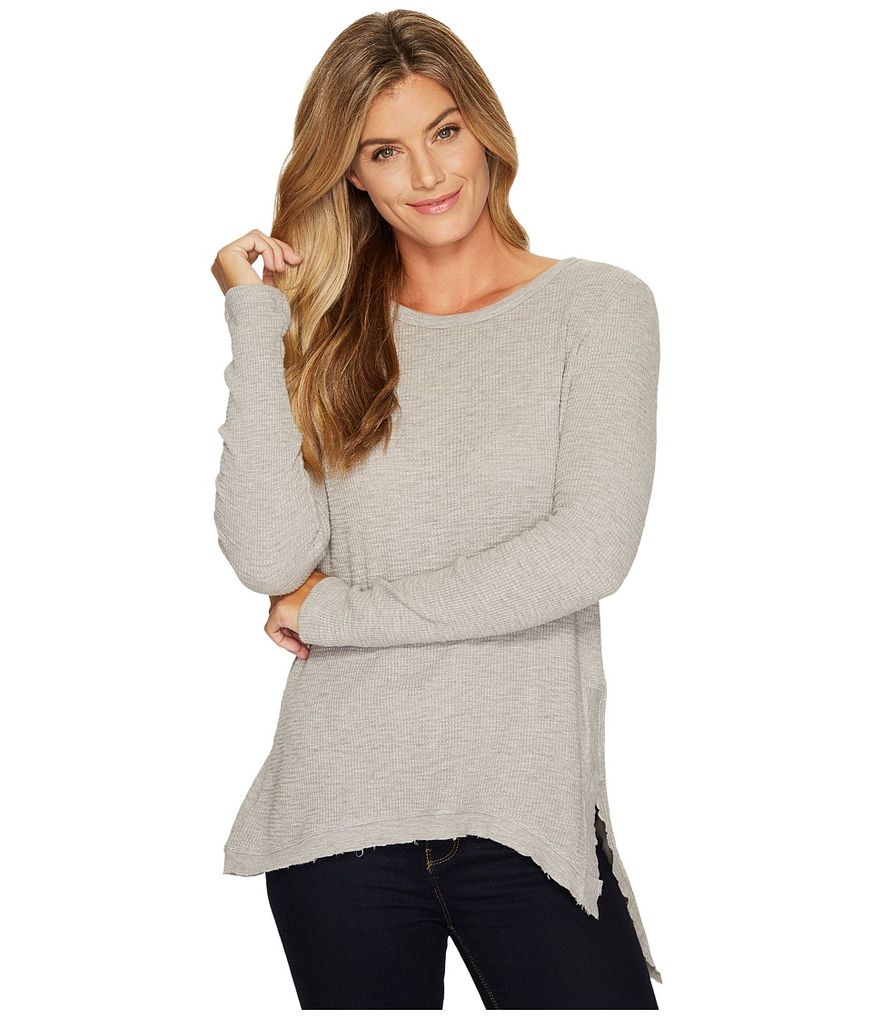 Dylan by True Grit - Heathered Soft Slub Waffle Long Asymmetrical Tunic with Slit