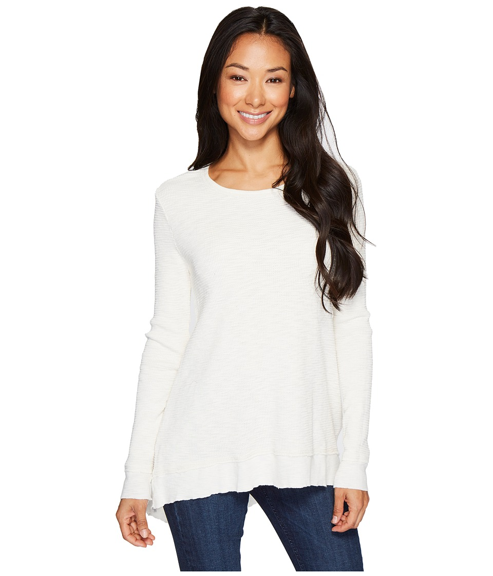 Dylan by True Grit - Softest Slub Waffle Asymmetrical Top (Vintage Chalk) Womens Long Sleeve Pullover