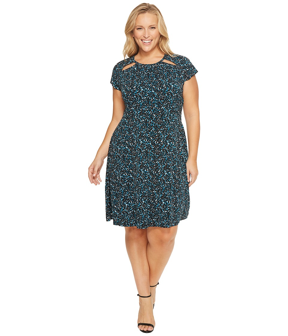 MICHAEL Michael Kors Plus Size Layered Leaf Shirred Neck Dress (Deep Teal) Women