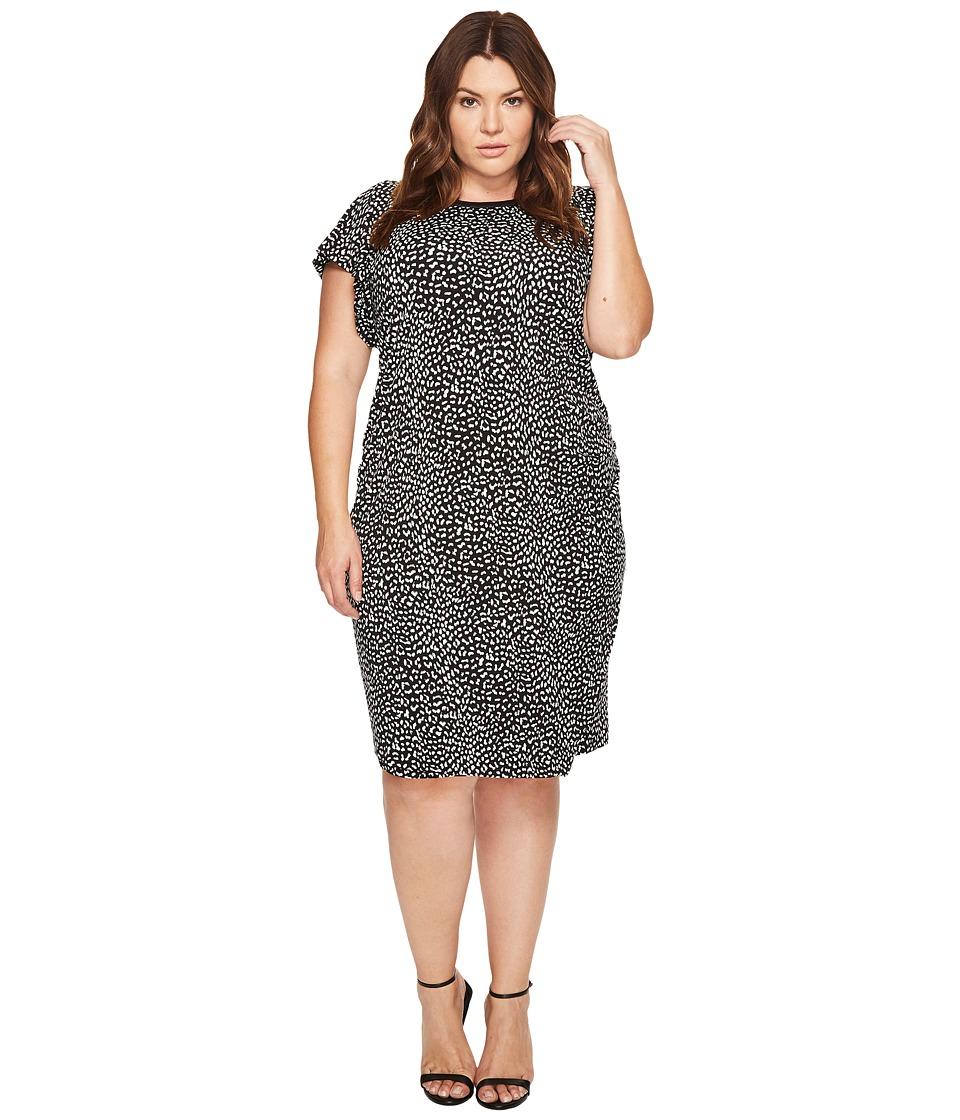 MICHAEL Michael Kors Plus Size Cheetah Ruffle Sleeve Dress (Black) Women