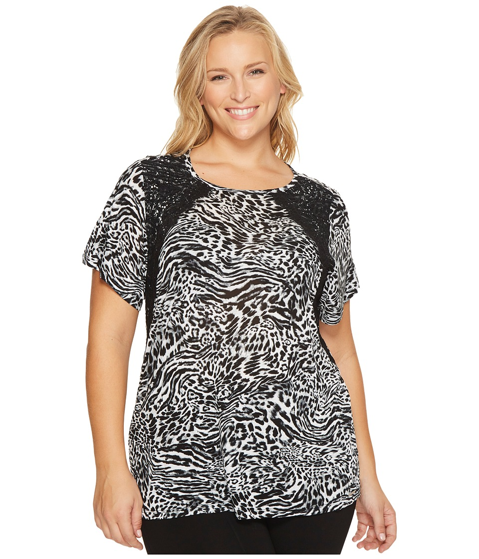 MICHAEL Michael Kors Plus Size Big Cat Lace Crew Tee (Black) Women