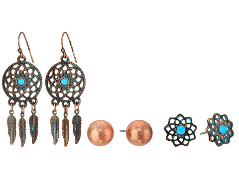 M&F Western Blazin Roxx 3-Pair Earring Set - Copper Flower/Stud/Dream Catcher