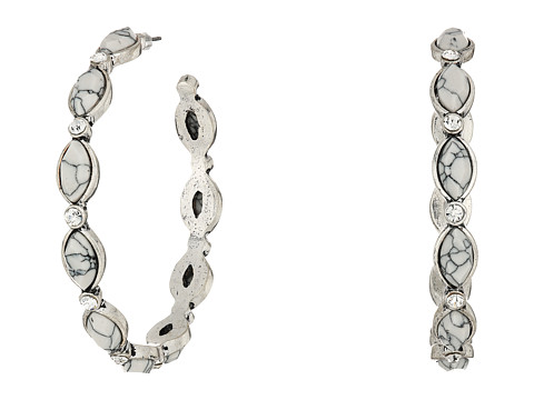 M&F Western Hoops with Oval Stones Earrings - Silver/White