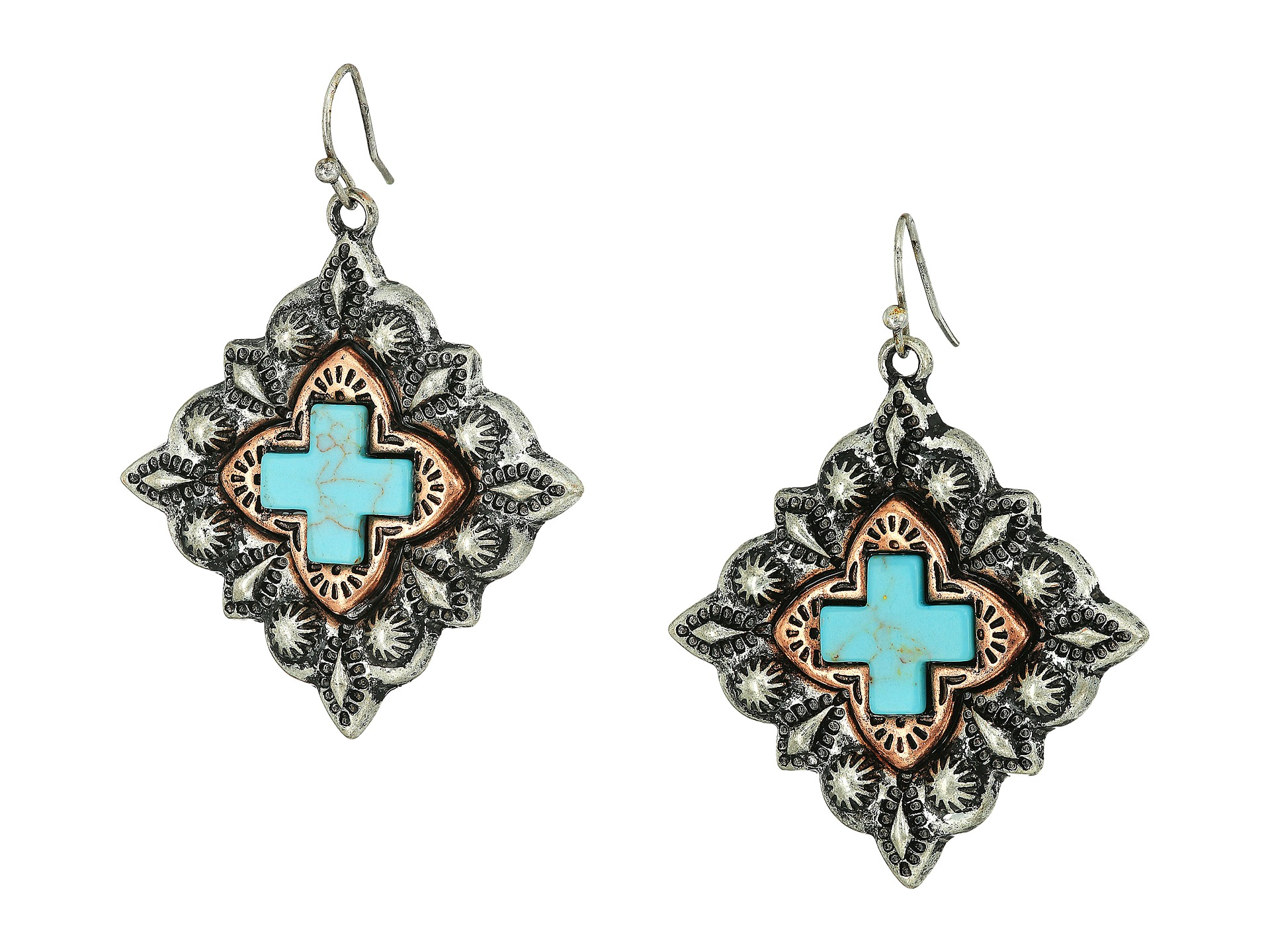 m f western shaped turquoise cross earrings at