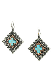 M&F Western - Diamond Shaped Turquoise Cross Earrings