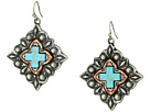 M&F Western Diamond Shaped Turquoise Cross Earrings