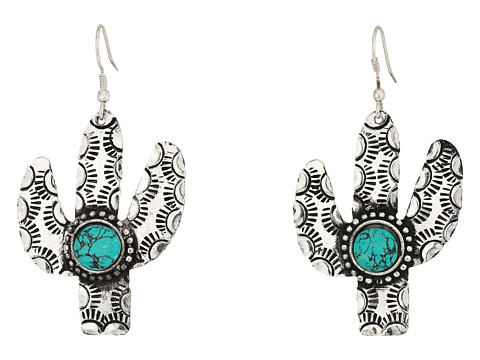 M&F Western Cactus and Turquoise Stone Earrings - Silver