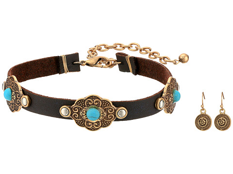 M&F Western Leather with Copper Concho Choker/Earrings Set - Copper