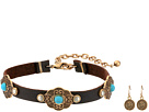 M&F Western M&F Western Leather with Copper Concho Choker/Earrings Set