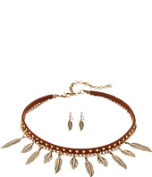 M&F Western - 2 Layer Dangle Feather Choker/Earrings Set