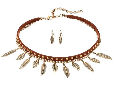 M&F Western 2 Layer Dangle Feather Choker/Earrings Set - Copper