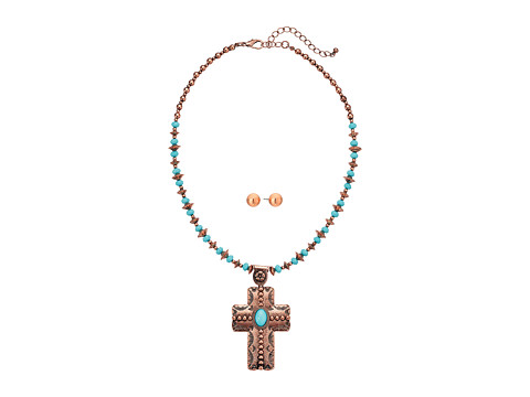M&F Western Copper Turquoise Beaded Cross Necklace/Earrings Set - Copper/Turquoise