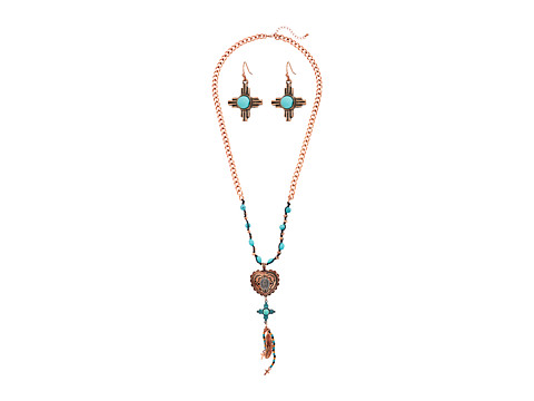 M&F Western Copper Heart and Turquoise Necklace/Earrings Set - Copper