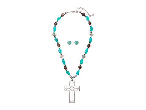 M&F Western Turquoise Aztec Cross Necklace/Earrings Set - Silver/Turquoise