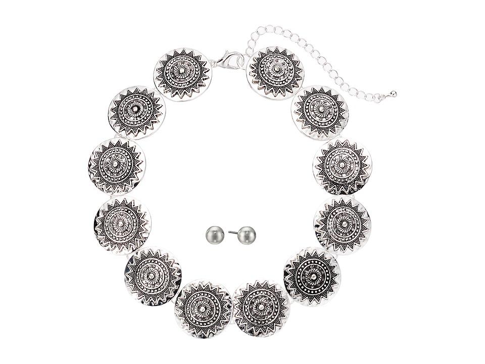 M&F Western - Silver Disc Choker/Earrings Set (Silver) Je...