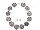 M&F Western Silver Disc Choker/Earrings Set