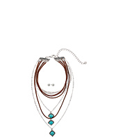 M&F Western - Multi-Layer Turquoise Stone Choker/Earrings Set