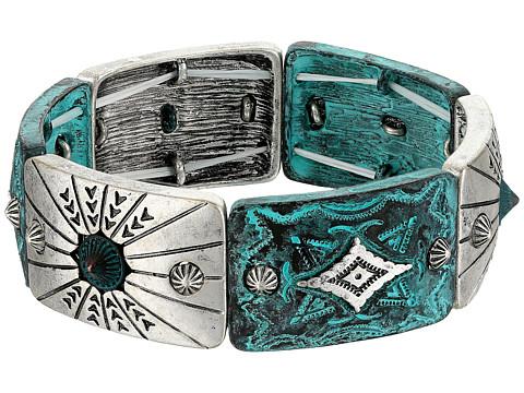 M&F Western Silver and Patina Stretch Bracelet - Silver/Patina