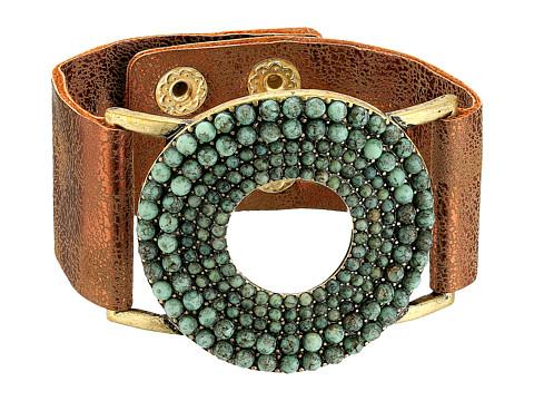 M&F Western Circle Turquoise Stones Leather Bracelet - Turquoise