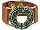 M&F Western Circle Turquoise Stones Leather Bracelet