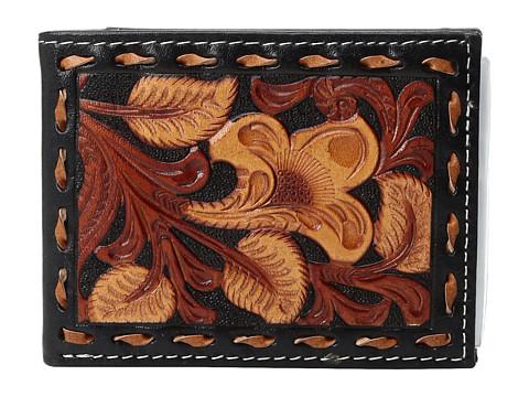 M&F Western 3-Tone Laced Edge Bifold Wallet - Black/Tan