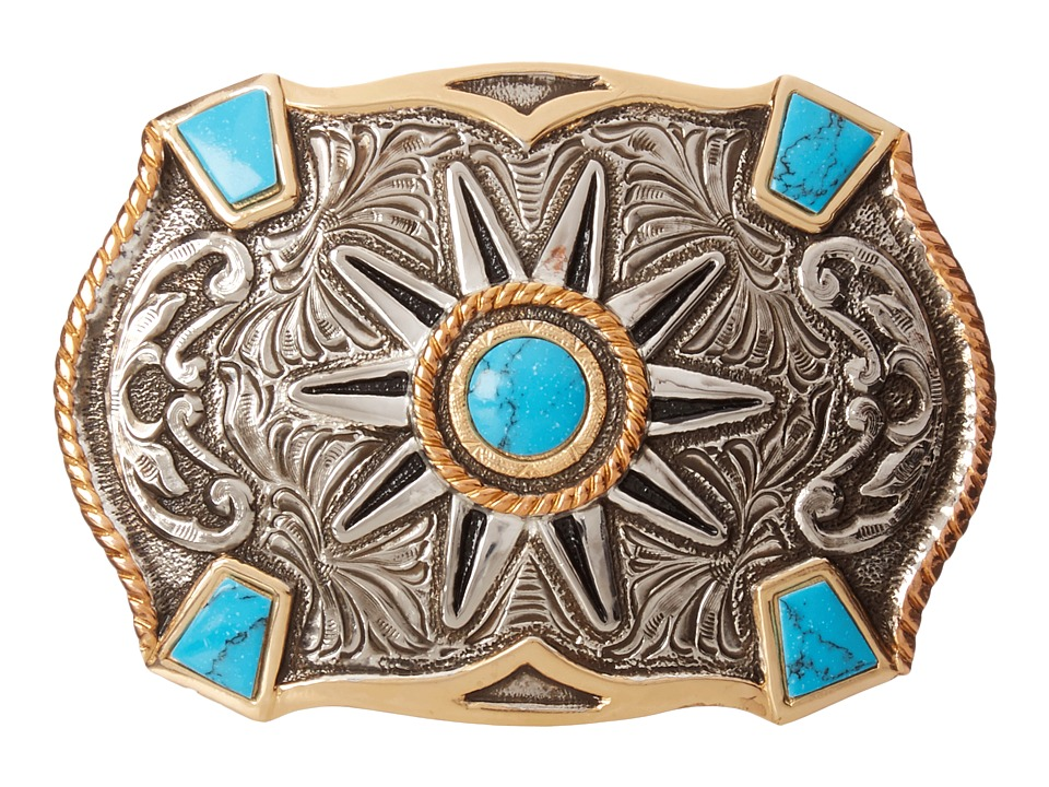 M&F Western - Crumrine Turquoise Stone Buckle (Silver/Gol...