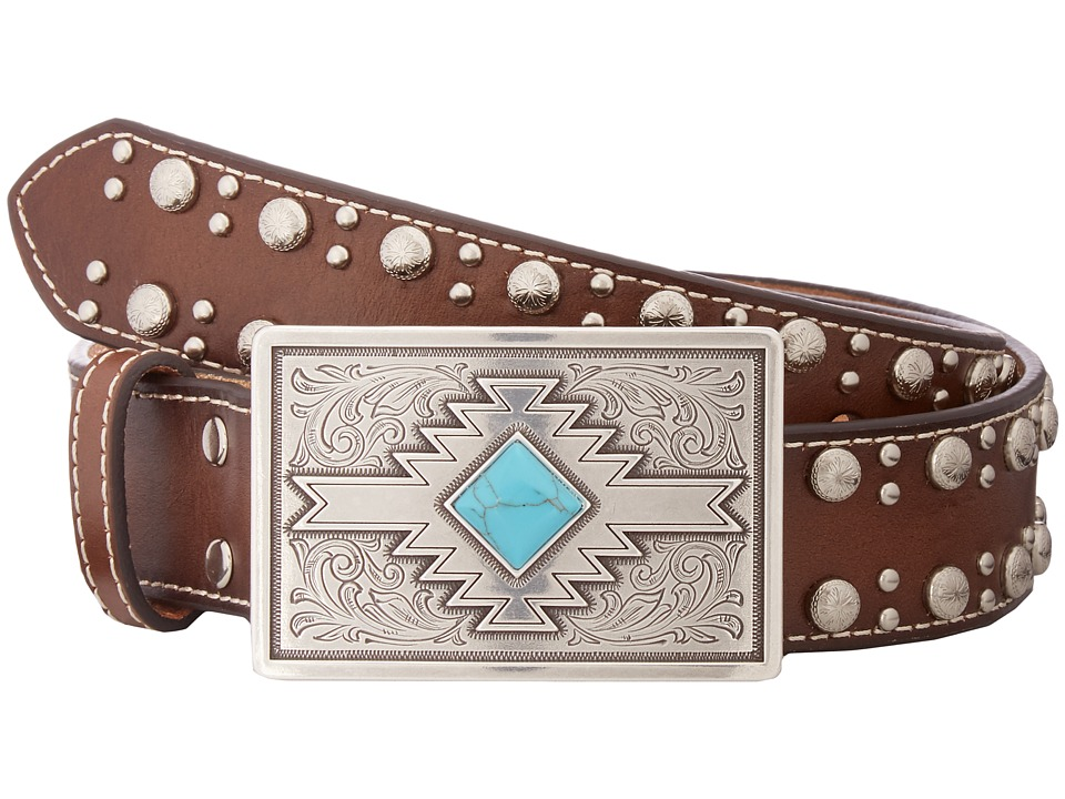 M&F Western - Studded Edge Aztec Buckle Belt (Brown) Wome...