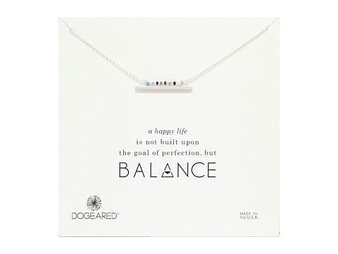 Dogeared Balance Smooth Bar w/ Multicolored Seed Bead Bar Necklace - Sterling Silver