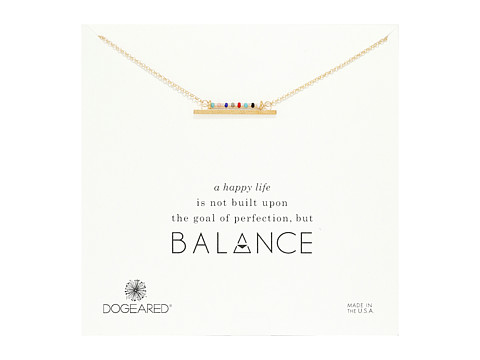 Dogeared Balance Smooth Bar w/ Multicolored Seed Bead Bar Necklace - Gold Dipped