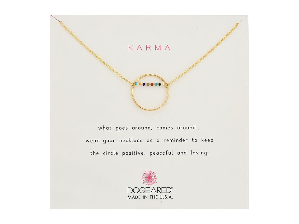 Dogeared Karma Smooth Open Circle w/ Multicolored Seed Be...