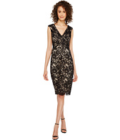 Sangria - V-Neck Sequined Lace Bodycon Sheath