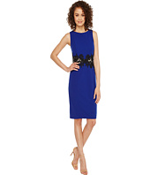 Sangria - Solid Crepe Sheath with Lace Illusion Waist Detail